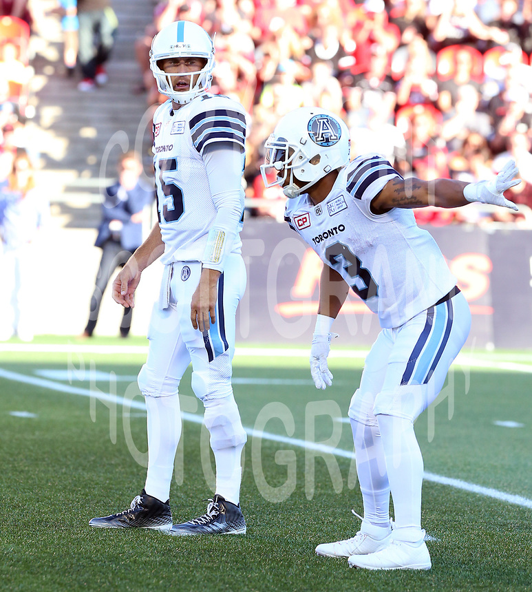Ricky Ray-Brandon Whitaker-Toronto Argonauts-8july2017-Photo: Scott Grant