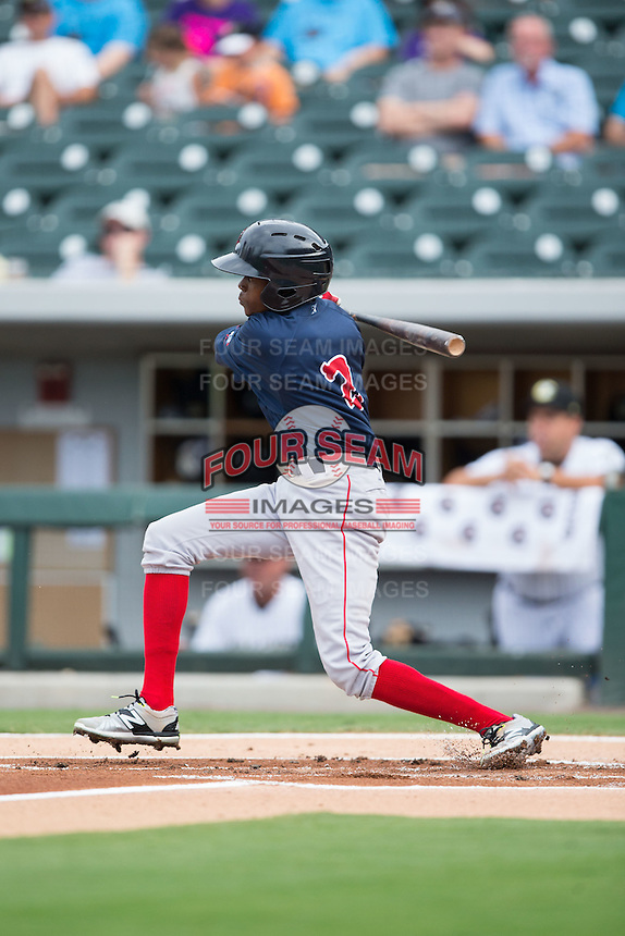 Jose Vinicio (2) of the Pawtucket Red Sox follows through on his swing against the Charlotte Knights at BB&T BallPark on July 6, 2016 in Charlotte, North Carolina.  The Knights defeated the Red Sox 8-6.  (Brian Westerholt/Four Seam Images)
