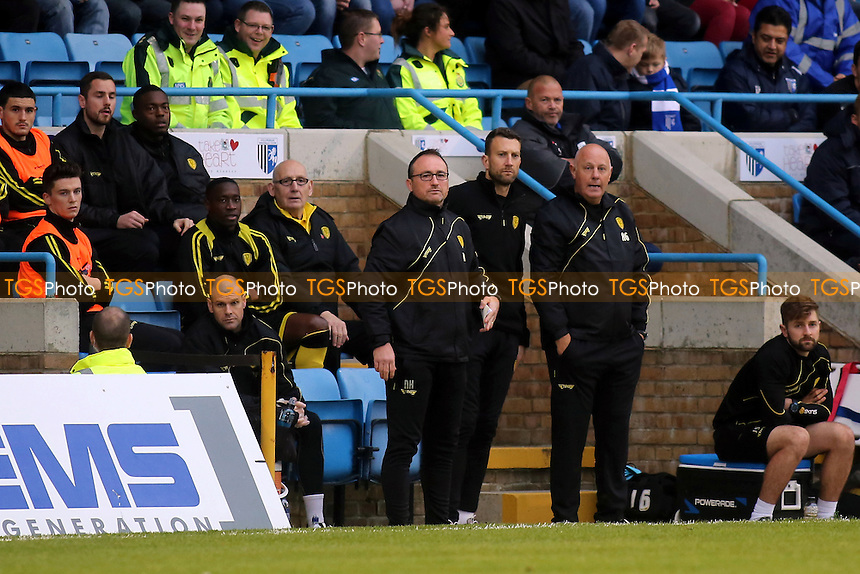 The Burton dug out missing new manager, Nigel Clough, who was attending a media commitment elsewhere during Gillingham vs Burton Albion, Sky Bet League 1 Football at the MEMS Priestfield Stadium, Gillingham, England on 12/12/2015