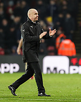 Burnley's manager Sean Dyche applauds the fans after the match<br /> <br /> Photographer Andrew Kearns/CameraSport<br /> <br /> The Premier League - Watford v Burnley - Saturday 19 January 2019 - Vicarage Road - Watford<br /> <br /> World Copyright © 2019 CameraSport. All rights reserved. 43 Linden Ave. Countesthorpe. Leicester. England. LE8 5PG - Tel: +44 (0) 116 277 4147 - admin@camerasport.com - www.camerasport.com