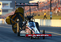 Oct 4, 2013; Mohnton, PA, USA; NHRA top fuel dragster driver Steve Torrence during qualifying for the Auto Plus Nationals at Maple Grove Raceway. Mandatory Credit: Mark J. Rebilas-
