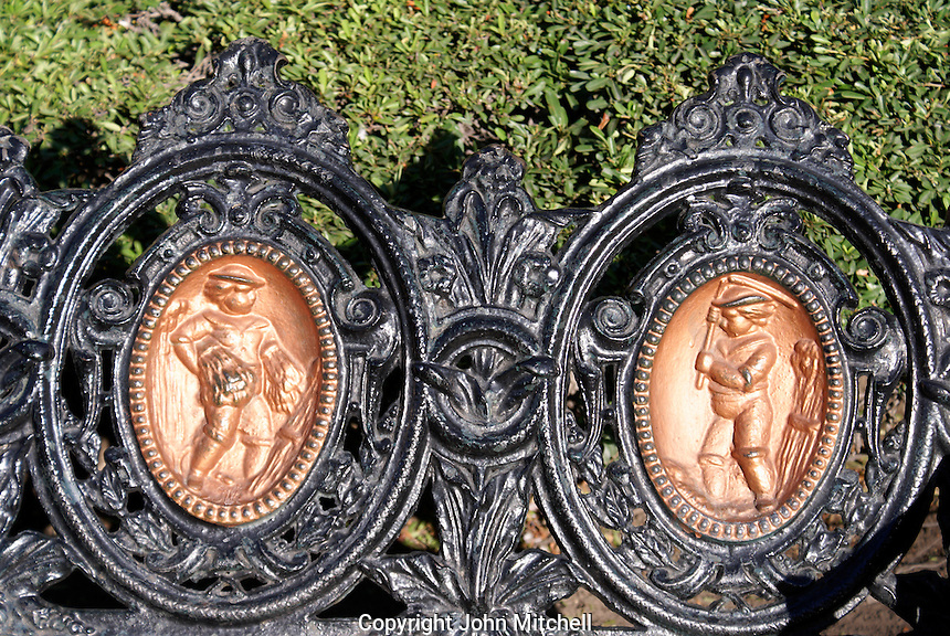 Detail of ornate wrought iron park bench in the Plaza de Armas, San Luis de Potosi, Mexico