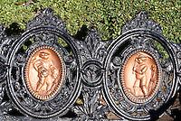 Detail of ornate wrought iron park bench in the Plaza de Armas, San Luis de Potosi, Mexico