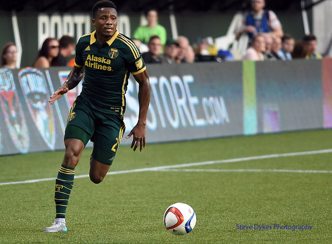 Jun 6, 2015; Portland, OR, USA; Portland Timbers defender Alvas Powell (2) brings the ball up the field during the second half of the game against the New England Revolution at Providence Park. The Timbers won the game 2-0. Mandatory Credit: Steve Dykes-USA TODAY Sports