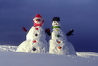 AJ1092, Vermont, snowmen, Mr & Mrs Snowman hold hands together up on a snow covered hill in Montpelier.