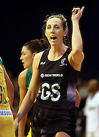 12.10.2016 Silver Ferns Bailey Mes in action during the Silver Ferns v Australia netball test match played at the Silver Dome in Launceston in Australia.. Mandatory Photo Credit ©Michael Bradley.