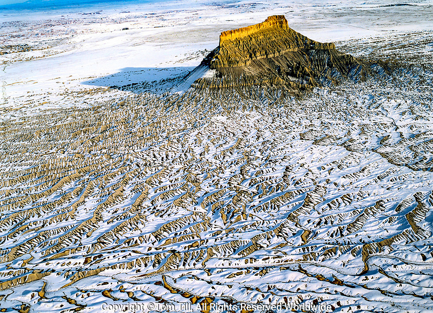 Factory Butte in winter, Proposed San Rafael wilderness, Utah Aerial view Near San Rafael sell