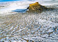 Factory Butte in winter, Proposed San Rafael wilderness, Utah Aerial view Near San Rafael sell