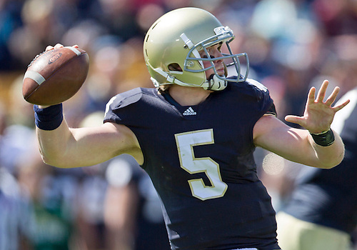 April 21, 2012:  Notre Dame Fighting Irish quarterback Gunner Kiel (5) passes the ball in fourth quarter action of the Notre Dame Blue-Gold Spring game at Notre Dame Stadium in South Bend, Indiana.  The Defense topped the Offense by a score of 42-31.