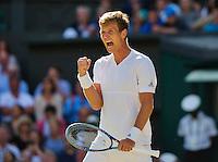 London, England, 3 July, 2016, Tennis, Wimbledon, Tomas Berdych (CZE) cellebrates matchpoint during his match against Alexander Zverev (GER)<br /> Photo: Henk Koster/tennisimages.com