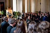 Associate Justice Elena Kagan speaks at a private ceremony in the Great Hall of the Supreme Court in Washington, Monday, July 22, 2019, where late Supreme Court Justice John Paul Stevens lies in repose. <br /> Credit: Andrew Harnik / Pool via CNP