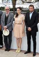 .../Director Jacques Audiard, actors Marion Cotillard and Matthias Schoenaerts pose at the 'De Rouille et D'os' Photocall during the 65th Annual Cannes Film Festival at Palais des Festivals on May 17, 2012 in Cannes, France.  .. Credit: Palme2012/ News Pictures/MediaPunch Inc. ***FOR USA ONLY***