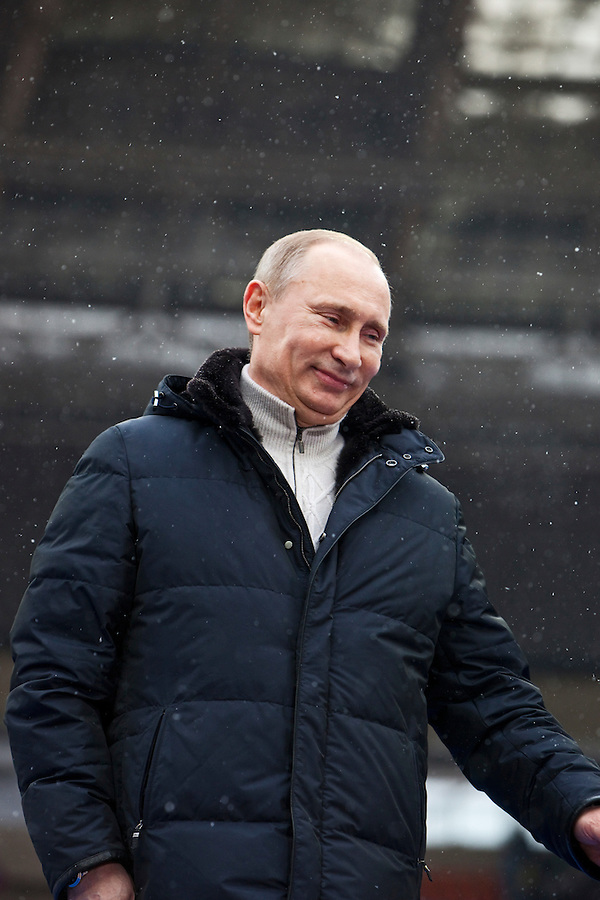 Moscow, Russia, 23/02/2012..Russian Prime Minister Vladimir Putin greets the crowd of some 130,000 people at a presidential election campaign rally in Luzhniki sports stadium.