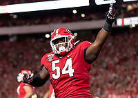 ATHENS, GA - SEPTEMBER 21: Justin Shaffer #54 of the Georgia Bulldogs celebrates after a touchdown during a game between Notre Dame Fighting Irish and University of Georgia Bulldogs at Sanford Stadium on September 21, 2019 in Athens, Georgia.