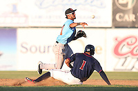 Jose Rondon #11 of the Inland Empire 66ers throws to first base after forcing out Carlos Correa #1 of the Lancaster JetHawks at second base during a game at The Hanger on May 26, 2014 in Lancaster, California. Lancaster defeated Inland Empire, 6-5. (Larry Goren/Four Seam Images)