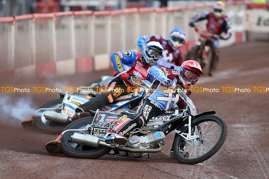 Heat 1: Richardson (red), Nicholls (white) and Nieminen - Lakeside Hammers vs Peterborough Panthers - Sky Sports Elite League Speedway at Arena Essex Raceway, Purfleet - 28/05/10 - MANDATORY CREDIT: Gavin Ellis/TGSPHOTO - Self billing applies where appropriate - Tel: 0845 094 6026