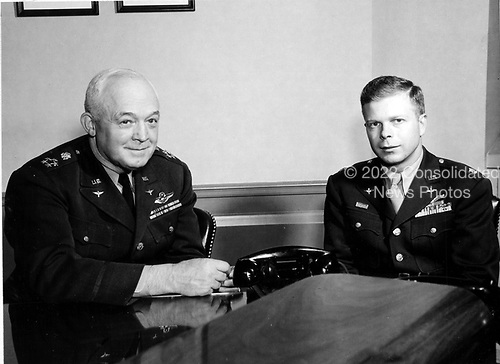 "Undated photo of United States Air Force legends Henry H. ""Hap"" Arnold, left, and Richard Ira ""Dick"" Bong, right..Credit: U.S. Air Force via CNP"