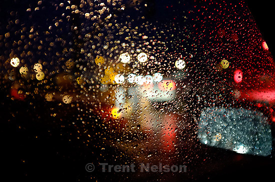 raindrops on car window.in Salt Lake City, Utah, Tuesday, November 1, 2011.