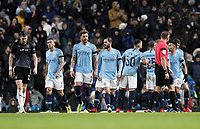 Burnley's Stephen Ward looks dejected as Manchester City celebrate their third goal scored by Kevin De Bruyne<br /> <br /> Photographer Rich Linley/CameraSport<br /> <br /> Emirates FA Cup Fourth Round - Manchester City v Burnley - Saturday 26th January 2019 - The Etihad - Manchester<br />  <br /> World Copyright © 2019 CameraSport. All rights reserved. 43 Linden Ave. Countesthorpe. Leicester. England. LE8 5PG - Tel: +44 (0) 116 277 4147 - admin@camerasport.com - www.camerasport.com