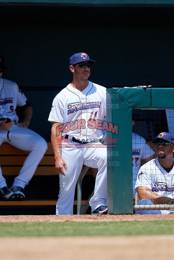 Jacksonville Jumbo Shrimp manager Kevin Randel (11) during a Southern League game against the Tennessee Smokies on April 29, 2019 at Baseball Grounds of Jacksonville in Jacksonville, Florida.  Tennessee defeated Jacksonville 4-1.  (Mike Janes/Four Seam Images)