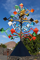 Spain, Canary Island, Lanzarote, Taro de Tahiche: Fundacion Cesar Manrique - colourful mobile (named Energia de la Piramide) designed by Cesar Manrique | Spanien, Kanarische Inseln, Lanzarote, Taro de Tahiche: Windspiel (Energia de la Piramide) von César Manrique vor der Stiftung - Fundación César Manrique