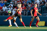 Rochester, NY - Saturday July 23, 2016: FC Kansas City forward Tiffany McCarty (20), Western New York Flash defender Courtney Niemiec (23), Western Western New York Flash defender Abigail Dahlkemper (13) during a regular season National Women's Soccer League (NWSL) match between the Western New York Flash and FC Kansas City at Rochester Rhinos Stadium.