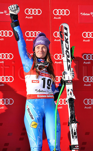 13.01.2013. St Anton, Austria.  Ski Alpine FIS World Cup Super G for women Award Ceremony Picture shows the cheering from Tina Maze SLO  on the podium