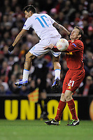 21.02.2013 Liverpool, England.Danny of Zenit St Petersburg and Lucas of Liverpool  in action during the Europa League game between Liverpool and Zenit St Petersburg from Anfield.