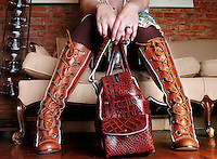 The About Face boot by designer Seychelles, a pioneer-style  leather lace up boot sells for 150 dollars at Mi Shoes, a boutique in downtown Bellingham.  Boots like these combine function and fashion and are perfect for the autumn and winter months in Whatcom County...-Model: Claire Brewer is a sales associate at Mi Shoes...111006 boots01 NJD LEDE.***LIFESTYLE****.BELLINGHAM HERALD PHOTO ILLUSTRATION BY NIKI DESAUTELS.DATE TAKEN:  111006