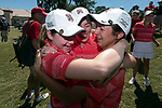 HOUSTON, TX - MAY 12: Nikki Isaacson, Mackenzie Cohen, and Sarahanne Vaughan, left to right, of Rhodes College celebrate their team's victory during the Division III Women's Golf Championship held at Bay Oaks Country Club on May 12, 2017 in Houston, Texas. (Photo by Rudy Gonzalez/NCAA Photos/NCAA Photos via Getty Images)