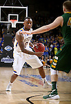 SIOUX FALLS, SD - MARCH 8:  Deondre Parks #0 from South Dakota State looks to make a move against Dexter Werner #40 from North Dakota State during the 2016 Summit League Championship Game Tuesday at the Denny Sanford Premier Center in Sioux Falls, S.D. (Photo by Dave Eggen/Inertia)