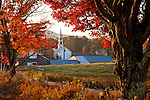 Fall foliage at a village in Tamworth, White Mountains, NH, USA