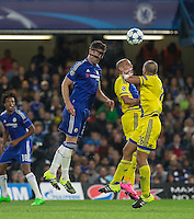 Gary Cahill of Chelsea wins the ball in the air during the UEFA Champions League match between Chelsea and Maccabi Tel Aviv at Stamford Bridge, London, England on 16 September 2015. Photo by Andy Rowland.