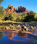 USA, Arizona,  Sedona, Cathedral Rock reflecting in Oak Creek.