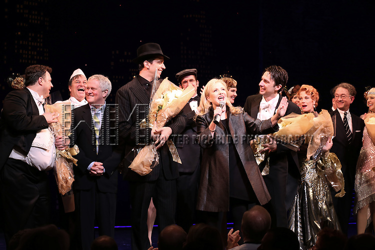 "Director Susan Stroman and Company during the Broadway Opening Night Performance Curtain Call for ''Bullets Over Broadway'""at the St. James Theatre on April 10, 2014 in New York City."