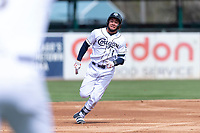 Kane County Cougars right fielder Eduardo Diaz (1) hustles towards third base during a Midwest League game against the Cedar Rapids Kernels at Northwestern Medicine Field on April 28, 2019 in Geneva, Illinois. Kane County defeated Cedar Rapids 3-2 in game one of a doubleheader. (Zachary Lucy/Four Seam Images)