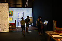 """LISBON, PORTUGAL - MAY 31:  A group of visitors wearing face masks attend the """"Meet VicentVanGogh"""" exhibition as the spread of the (COVID-19) continues in Lisbon, on May 31, 2020. <br /> Meet Vincent van Gogh is an interactive experience, to get to know Lisbon, through which it proposes to make Vincent's art accessible to as many people as possible.<br /> (Photo by Luis Boza/VIEWpress via Getty Images)"""