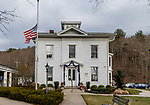 WOODBURY, CT. 29 December 2018-122918 - The flag is at half staff and bunting is put around the doorway of the Municipal Town Offices in Woodbury on Saturday, in memory of the sudden passing of the town's first selectmen Bill Butterly. Bill Shettle Republican-American
