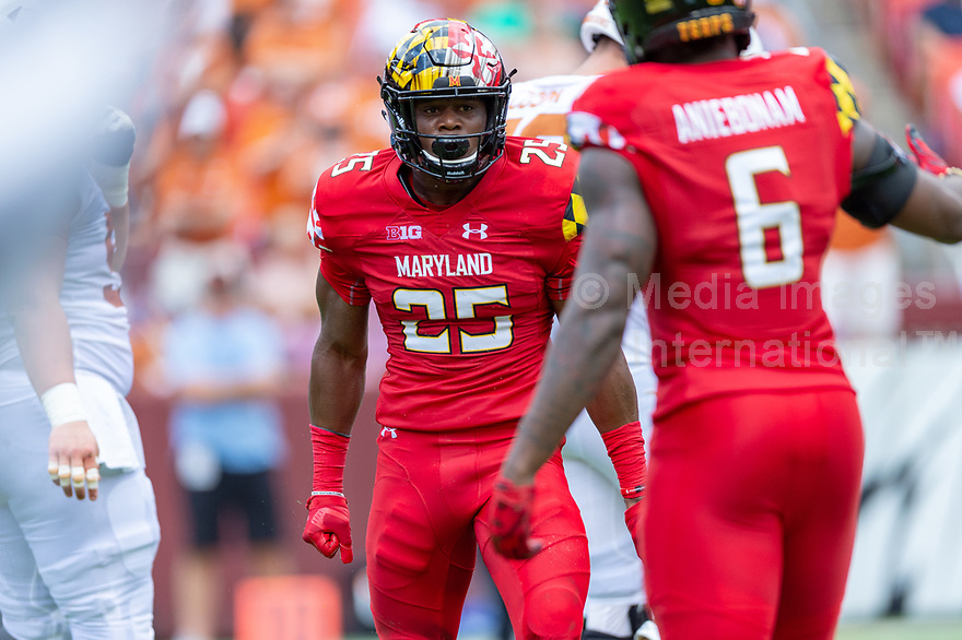 Landover, MD - September 1, 2018: Maryland Terrapins defensive back Antoine Brooks Jr. (25) flexes after one of his 11 total tackles (seven solo) during game between Maryland and No. 23 ranked Texas at FedEx Field in Landover, MD. The Terrapins upset the Longhorns in back to back season openers with a 34-29 win. (Photo by Phillip Peters/Media Images International)