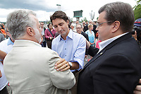 Montreal - CANADA - August 17 - Liberal leader justin Trudeau, Quebec Premier Philippe Couillard and Montreal Mayor Denis Coderre are among the dignitaries attending the Montreal Gay Pride, August 17, 2014.<br /> <br /> Photo : Agence Quebec Presse