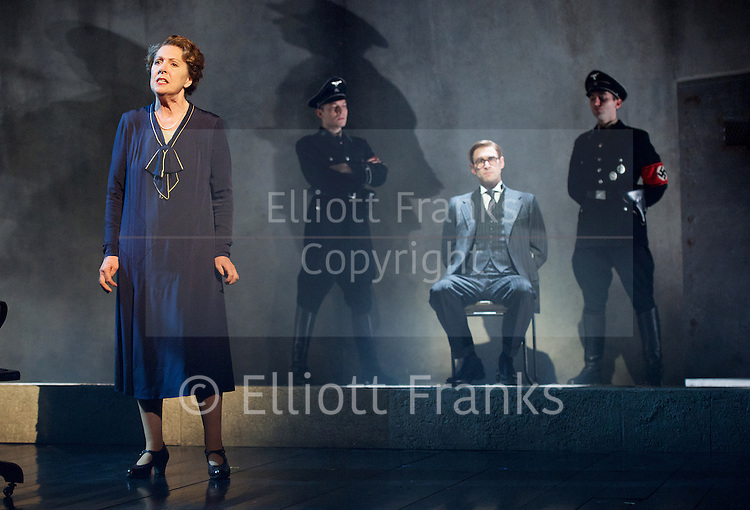 Taken at Midnight by Mark Hayhurst <br /> directed by Jonathan Church <br /> at Theatre Royal Haymarket, London, Great Britain <br /> 16th January 2015 <br /> <br /> Penelope Wilton as Irmgard Litten <br /> <br /> Martin Hutson as Hans Litten <br /> <br /> <br /> <br /> Photograph by Elliott Franks <br /> Image licensed to Elliott Franks Photography Services