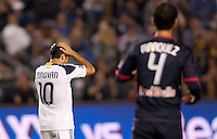 Landon Donovan (10) of the LA Galaxy reacts to narrowly missing a scoring attempt. The LA Galaxy and Red Bulls of New York played to a 1-1 tie at Home Depot Center stadium in Carson, California on  May 7, 2011....