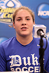 03 December 2011: Duke's Maddy Haller. The Duke University Blue Devils held a press conference at KSU Soccer Stadium in Kennesaw, Georgia the day before playing Stanford in the NCAA Division I Women's Soccer College Cup championship game.