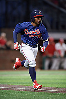 Danville Braves right fielder Henry Quintero (24) runs to first base during a game against the Johnson City Cardinals on July 28, 2018 at TVA Credit Union Ballpark in Johnson City, Tennessee.  Danville defeated Johnson City 7-4.  (Mike Janes/Four Seam Images)