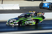 Nov. 10, 2012; Pomona, CA, USA: NHRA funny car driver Alexis DeJoria during qualifying for the Auto Club Finals at at Auto Club Raceway at Pomona. Mandatory Credit: Mark J. Rebilas-