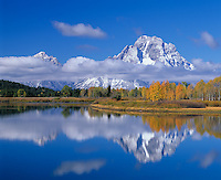 Grand Teton National Park, WY<br /> Mount Moran wrapped in clouds and fall aspen with reflections on the Snake River at the Oxbow