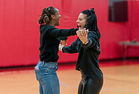 HOUSTON, TX - FEBRUARY 1: Crystal Dunn #19 and Ali Krieger #11 of the United States celebrate at Houston Rockets Training Center on February 1, 2020 in Houston, Texas.