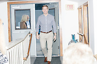 Democratic presidential candidate and Congressional Representative Eric Swalwell (D-CA 15th) arrives to speak at the Milford Democrats' Potluck Supper at the Unitarian Universalist Congregation Church in Milford, New Hampshire, USA, on Sat., Apr. 6, 2019. Swalwell is running primarily on gun control issues.