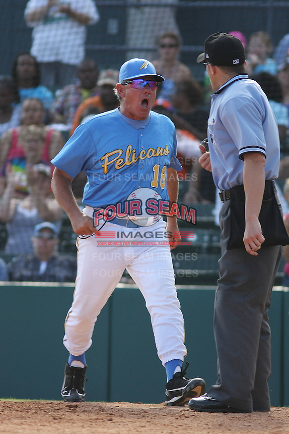Manager Rocket Wheeler #18 of the Myrtle Beach Pelicans arguing with the umpire(after being ejected) during a game against the Salem Red Sox on May 16, 2010 at BB&T Coastal Field in Myrtle Beach, SC.