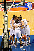 10 March 2008: Stanford Cardinal (not in order) Jillian Harmon, Morgan Clyburn, JJ Hones, Kayla Pedersen, and Rosalyn Gold-Onwude during Stanford's 56-35 win against the California Golden Bears in the 2008 State Farm Pac-10 Women's Basketball championship game at HP Pavilion in San Jose, CA.